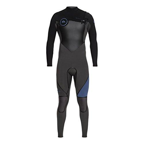 (Quiksilver 4/3mm Syncro Plus Chest Zip Men's Full Wetsuits - Black/Jet Black/Cascade Blue/Large)