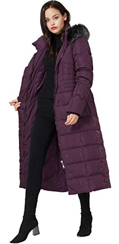 Molodo Women's Long Down Coat with Fur Hood Maxi Down Parka Puffer Jacket Large Purple