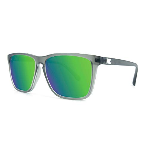 Knockaround Fast Lanes Polarized Sunglasses With Full UV400 Protection For Men And Women, With Translucent Grey Frames/Green Reflective Lenses