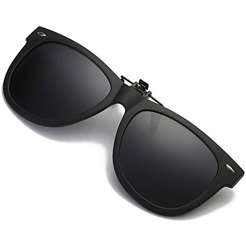 - Polarized Clip-on Sunglasses UV 400 Lens TR 90 Frame Fishing Driving Flip Up Sunglasses Fit Over Prescription Glasses (Black)