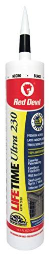 Red Devil 077060 Lifetime Ultra Premium Elastomeric Acrylic Latex Sealant, 10.1-Ounce, Black