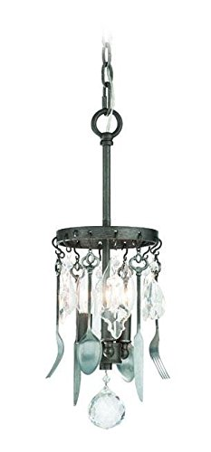 Troy Lighting Bistro 3-Light Mini Pendant - Graphite Finish with Antique Pewter Flatware and Crystal Drops -