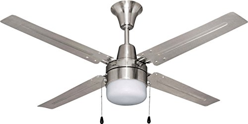 Litex E-UB48BC4C1 Urbana 48-Inch Ceiling Fan with Four Brushed Chrome Blades and Single Light Kit with frosted Glass
