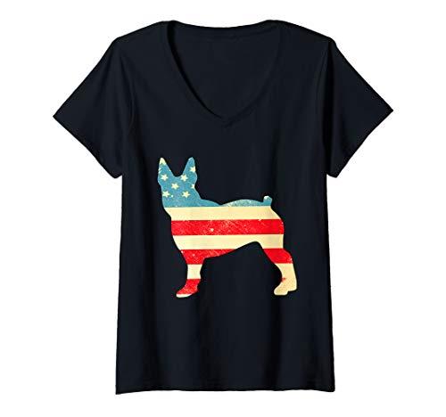 Womens American Flag Vintage Boston Terries Tee 4th Of July V-Neck T-Shirt (Terrie Boston)