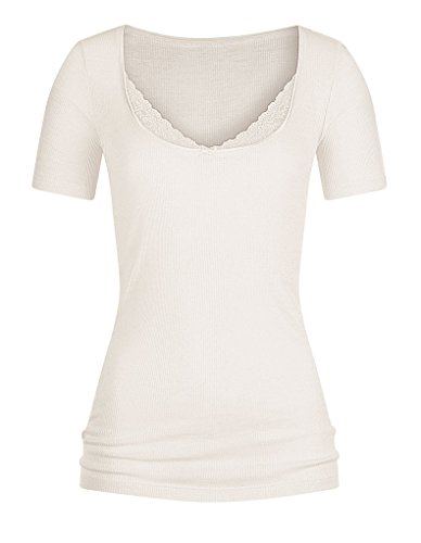 "Fashion Mey ""Lace softwool Camisetas de mujer 1/2 Arm 66810 blanco (wollweiss)"