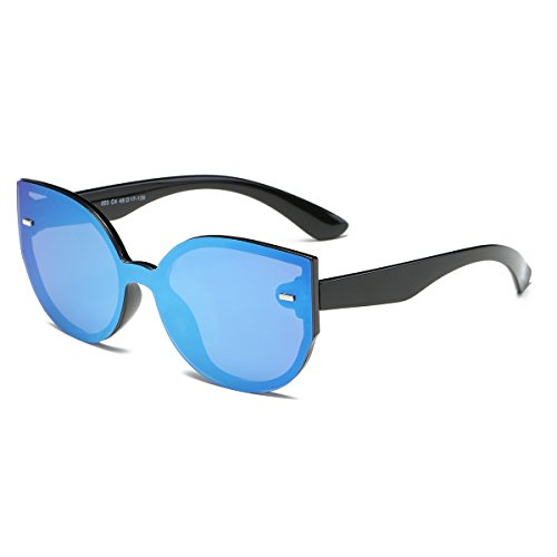 Amomoma Cat Eye Rimless Women Sunglasses Oversized One Piece Mirror Lens AM2013 With Blue Mirrored - Sunglasses Free Cheap Shipping