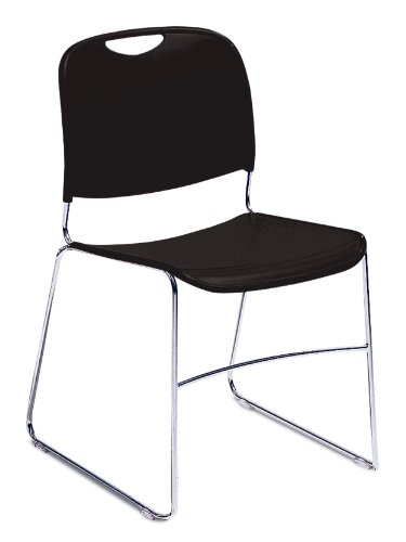 NPS 8510-CN Ultra-compact Plastic Stack Chair, 300-lb Weight Capacity, 17-1/2'' Length x 22-1/2'' Width x 31'' Height, Black (Carton of 4) by NPS