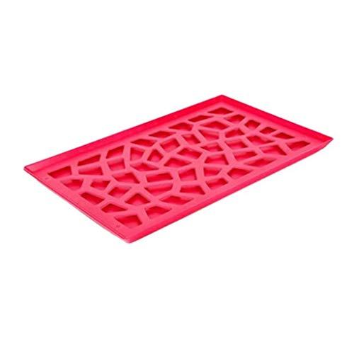 Bazzano Modern Plastic Pierced Kitchen Storage Unique Tray Fruits Plates Drain Rack Rosered -