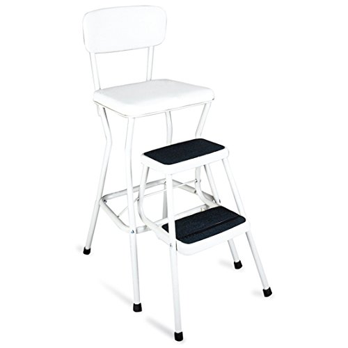 - Sturdy Steel Constructed Vintage Style, Retro Counter Chair / Step Stool, White