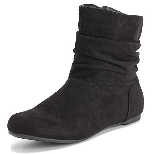 - Womens Pull On Slouch Winter Fashion Closed Toe Flat Biker Ankle Boots - Black - EU39/US8 - KL0363