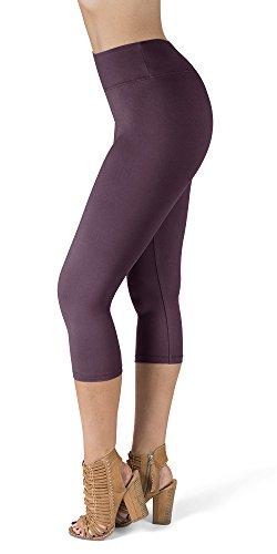 SATINA High Waisted Super Soft Capri Leggings - 20 Colors - Reg & Plus Size (One Size, Vintage Violet)