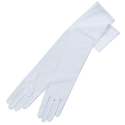 ZaZa Bridal 19.5'' Long Gorgeous Sheer Gloves Tricot Slip-on 12BL-White by ZaZa Bridal