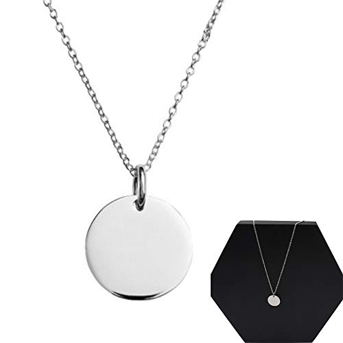 Round Circle Disk - Sterling Silver Tiny Round Disc Necklace Pendant for Women Men with Charm Initial Small Circle Disk Long Chain Pendant Gift