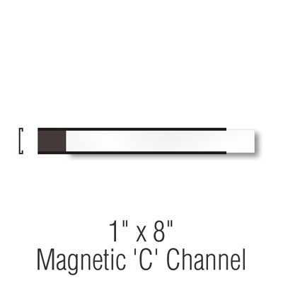 SmartSign Magnetic 'C' Channel Label Holders for Metal Racks and Shelves   1'' x 8'' Pack of 25 by SmartSign
