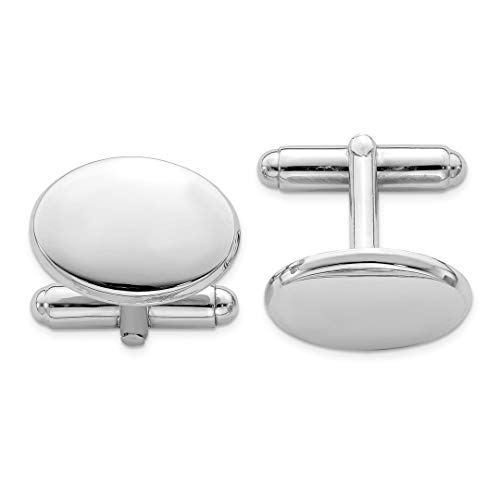 ICE CARATS 925 Sterling Silver Oval Cuff Links Mens Cufflinks Man Link Fine Jewelry Dad Mens Gift (Personalized Sterling Silver Oval Cufflinks)