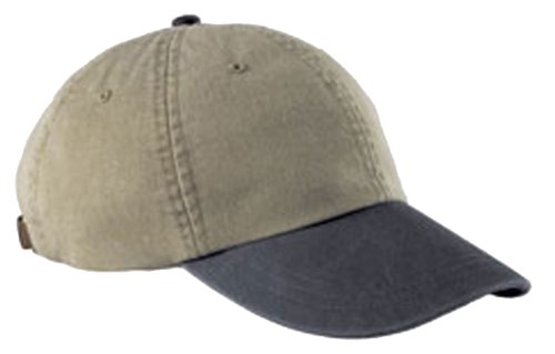 Adams Cotton Twill Two-Tone Khaki Optimum Cap - Khaki/ Midnight Blue (Two Tone Hat Baseball)