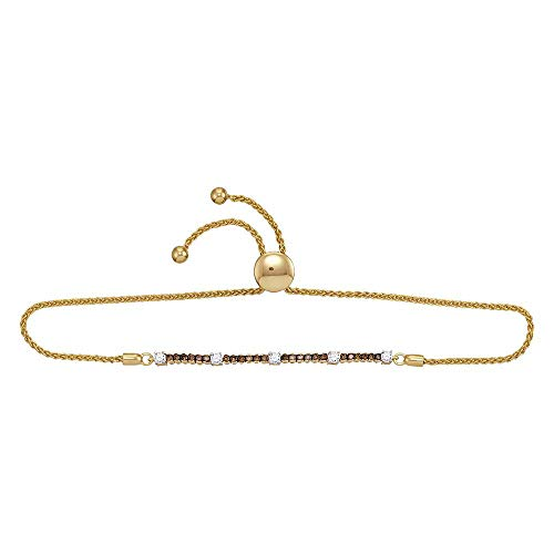 Jewel Tie Solid 10k Yellow Gold Round Color Chocolate Brown Diamond Bolo Bracelet 3/4 Cttw