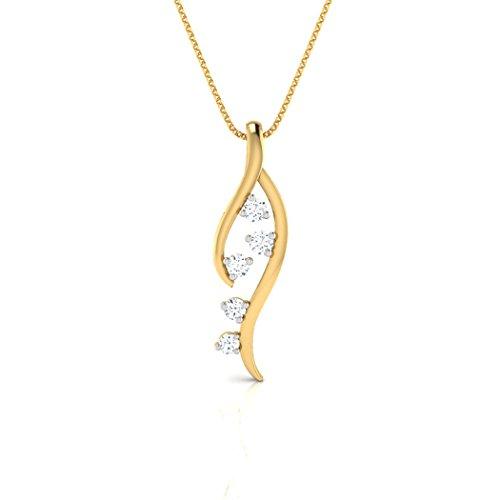 18K Or Blanc 0,07ct tw Round-cut-diamond (IJ   SI) Pendentif