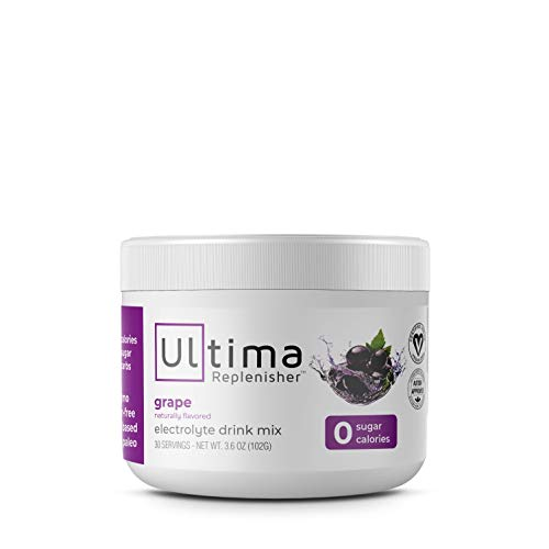 Ultima Replenisher Electrolyte Hydration Powder, Grape, 30 Serving Canister - Sugar Free, 0 Calories, 0 Carbs - Gluten-Free, Keto, Non-GMO with Magnesium, Potassium and Sodium
