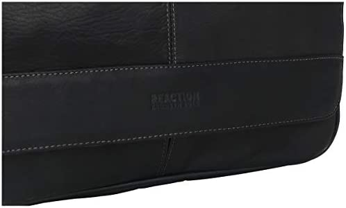 Kenneth Cole Reaction Risky Business Full-Grain Colombian Leather Crossbody Laptop & Tablet Flapover Messenger Bag, Black, One Size