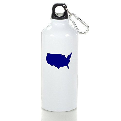SIHA Dos LOVA Map Of The United States Aluminum Sport Water Bottle, Great For Outdoor And Sport Activities. Metal Hook On The Top 400ml