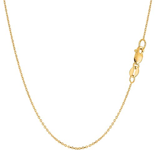 14K Yellow or White or Rose/Pink Gold 0.8mm Shiny Diamond Cut Cable Link Chain Necklace for Pendants and Charms with Lobster-Claw Clasp (16
