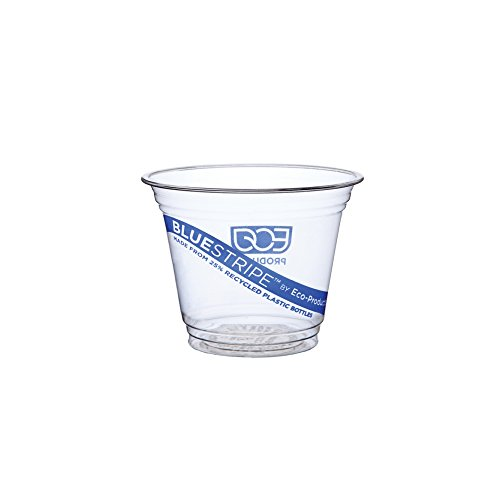 Eco Products Bluestripe Recycled Clear Plastic Cold Cups, 9oz, 100 Per Pack, 10 Packs/Carton Ep-Cr9 EP-CR9