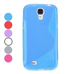 S-Shape Transparent Soft Case for Samsung Galaxy S4 I9500 (Assorted Colors) --- COLOR:Blue