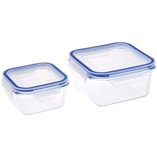 Amazon Brand – Solimo Square Glass Storage Container Set, Set of 2, Transparent Price & Reviews