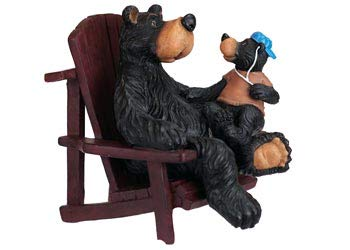 Rustic Axentz Bear Sitting in Adirondack Chair, Camping Collectible Figure, -