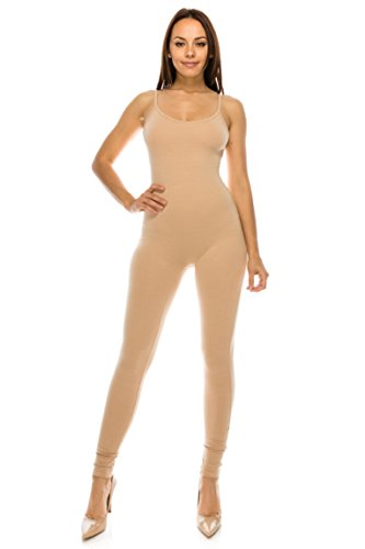 CNC STYLE Women Cotton Tank Spaghetti Strap Catsuit One Piece Yoga Bodysuit Jumpsuit Playsuit (2XL, Khaki)