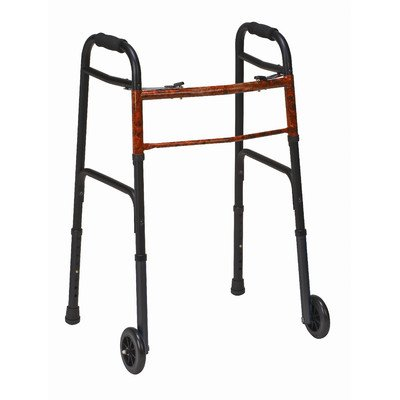 Duro-Med 2-Button Adjustable Aluminum Folding Walker with 5 Inch Wheels