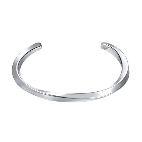 U7 Polished Cuff Bracelet Stainless Steel Simple Twisted Line Design Classic Bangle for Women Men
