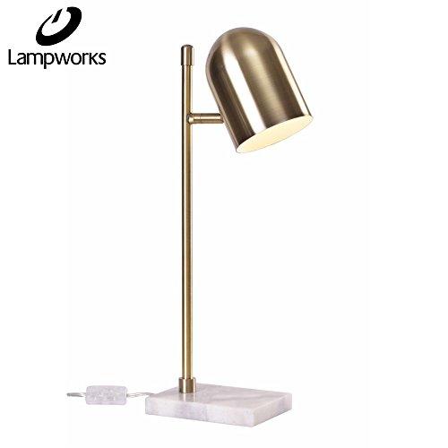 Lampworks Table Lamp Diamond Shape Bedside Lamp Marble Base Desk Lamp Rose Copper Lampshade Modern Design Light for Bedrooms Living Room(Bulb Not Included) (Gold)