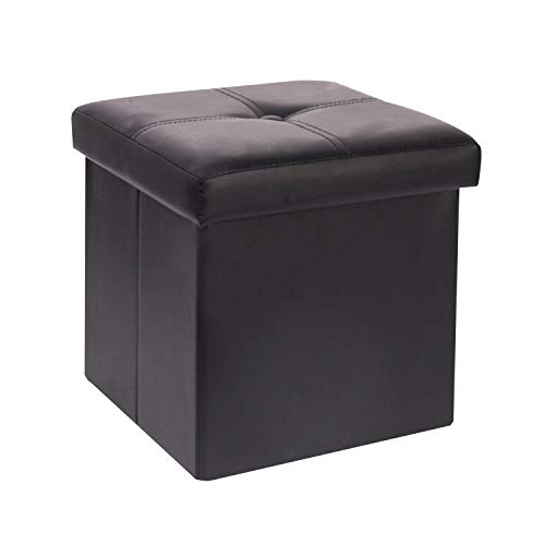 B FSOBEIIALEO Storage Ottoman with Faux Leather Foldable Small Square Foot Rest Stools Coffee Table Black 11.8