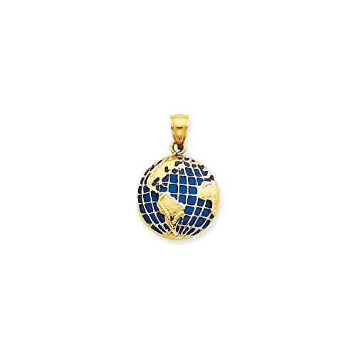 14k Gold Globe (Roy Rose Jewelry 14K Yellow Gold BlueTranslucent Acrylic Globe Pendant)