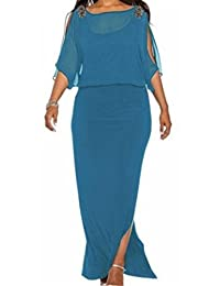 SELX Women O Neck Casual Maxi Dress 3/4 Sleeve Split Prom Cocktail Long Dress