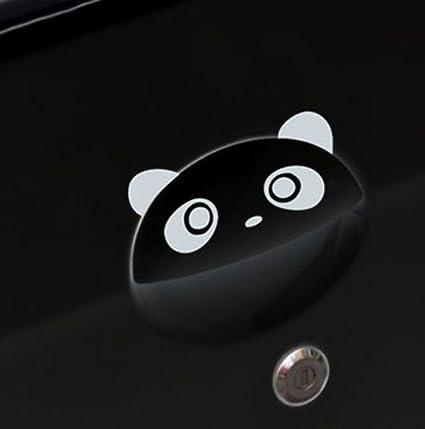 """2x Cute Panda Face Door Handle Car Vinyl Decal Sticker 4.73/"""" x 2.40/"""" Black"""