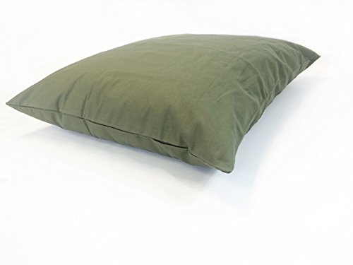36''x29'' Medium Size MicroCushion High Density Memory Foam Soft Poly Fiber Waterproof Pet Pillow Bed with Removable Zippered Tough Strong Green Canvas Cover Case for Small to Medium Dogs by American Comfort Warehouse