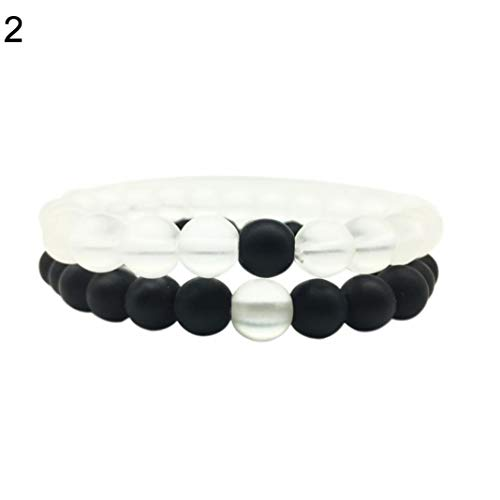 Agate 2 Strands - 2Pcs/Set Matte Beads Distance Bracelet Matte Agate Howlite Beads His and Hers Couple Bracelet Jewelry Gift for Lovers Friends Boyfriend Girlfriend (2#)