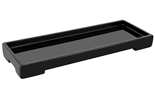 Luxspire Vanity Tray, Toilet Tank Storage Tray, Resin bathtub tray bathroom tray Black Tray, Vanity Organizer for Tissues, Candles, Soap, Towel, Plant, etc - Black (Candle Rectangular Holder)