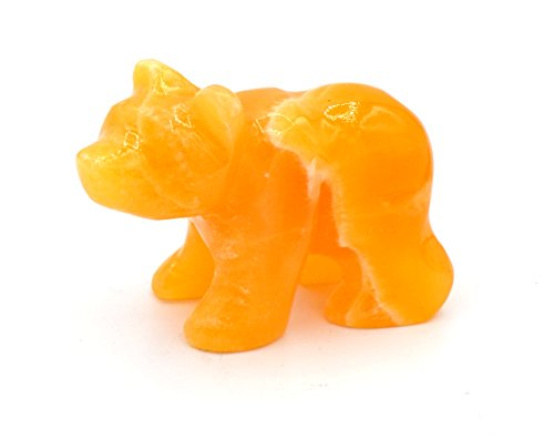 "Warm Orange Stone Bear Figure, 3.5"" long, Carved from Real North American Calcite - The Artisan Mined Series by hBAR"