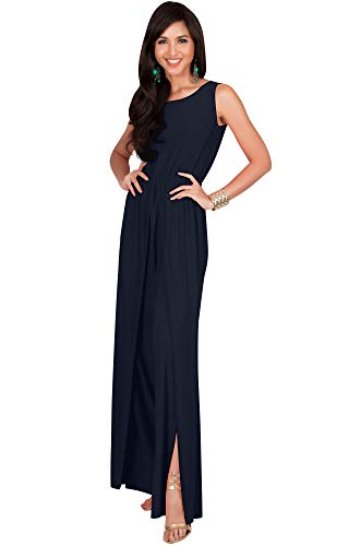 KOH KOH Womens Sleeveless Cocktail Wide Leg Casual Cute Long Pants One Piece Jumpsuit Jumpsuits Pant Suit Suits Romper Rompers Playsuit Playsuits, Dark Navy Blue M 8-10