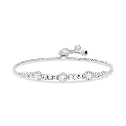 INSPIRED BY YOU. Round Prong Set Cubic Zirconia Adjustable Tennis Bracelet for Women in Rhodium Plated Sterling Silver -