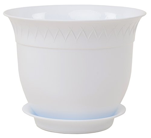 Santino Flower Pot With Saucer Lilia 8.6 Inch White Indoor Outdoor Plastic Planter