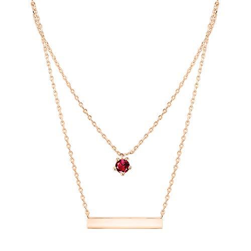 PAVOI 14K Rose Gold Plated Swarovski Crystal Birthstone Bar Necklace Pendant Engraveable July