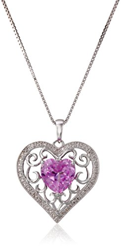 Sterling Silver Created Pink Sapphire and Diamond-Accent Heart Pendant Necklace, 18