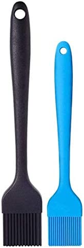 Silicone Basting Brush Set of Two Heat Resistant Long Handle Pastry Brush for Grilling, Baking, BBQ and Cooking, Solid Core and Hygienic Solid Coating-Black and Blue