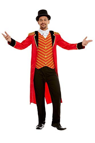 Smiffys 51016XL Deluxe Ringmaster Costume, Men, Red, XL - Size 46