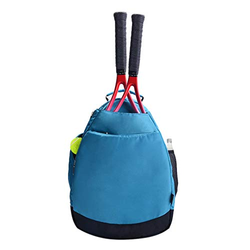 Women's Tennis Racket Backpack Sport Bag for Girls Boys with Water Bottle Holder Blue